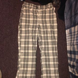 striped flaired trousers